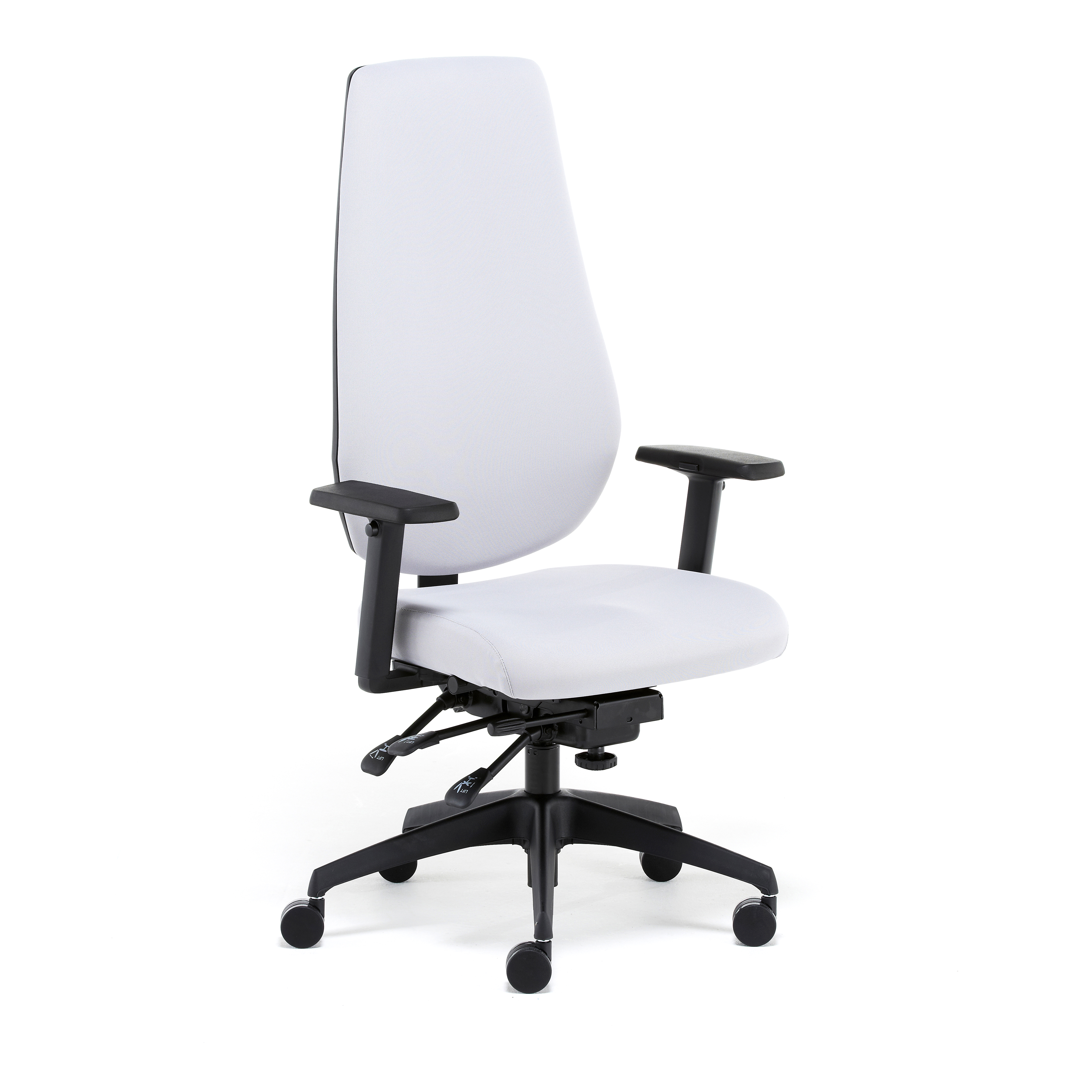 Distinctive and total comfort leather office managerial chair which provides cervical, thoracic, lumbar and pelvic comfort during the day.