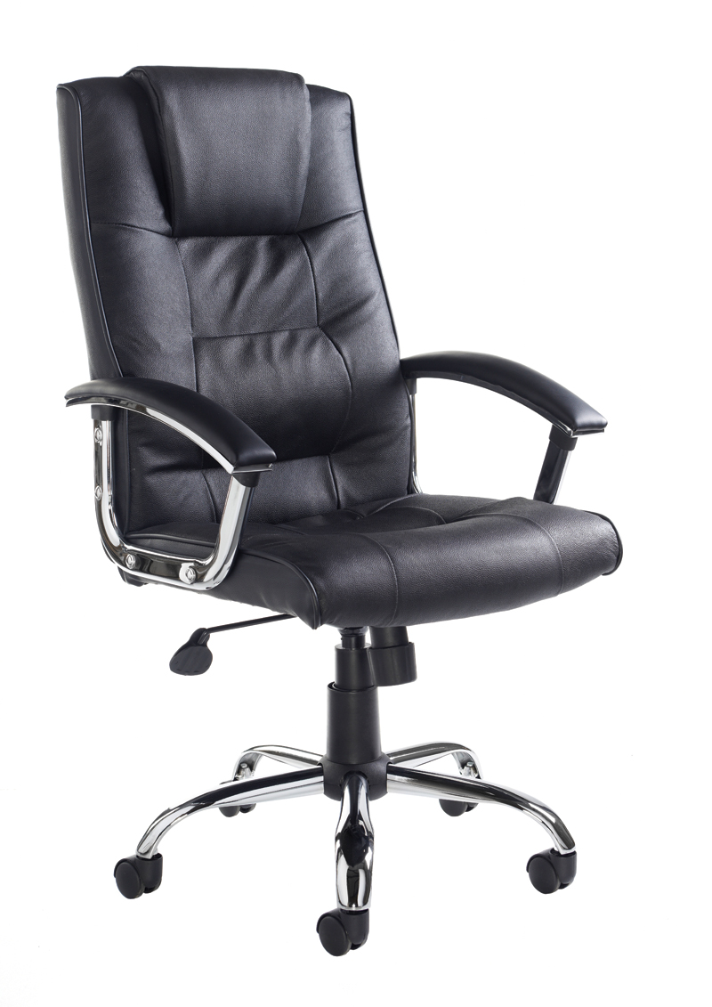 Stylish leather faced office chair with high back and  headrest