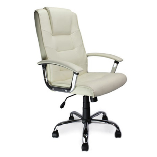 High backed leather faced executive chair with integral headrest and pronounced lumbar support.