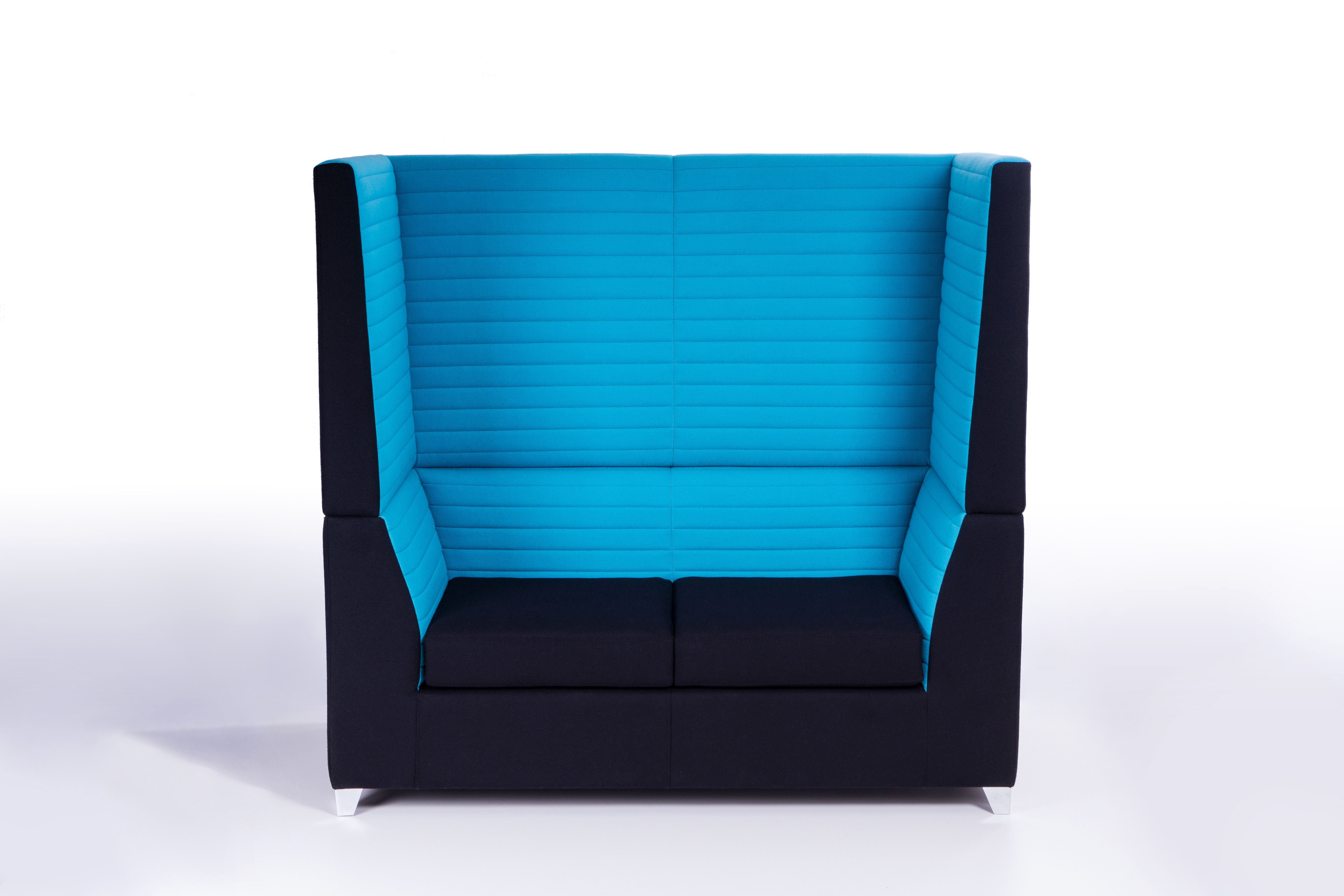 Modular high back booth seating for two