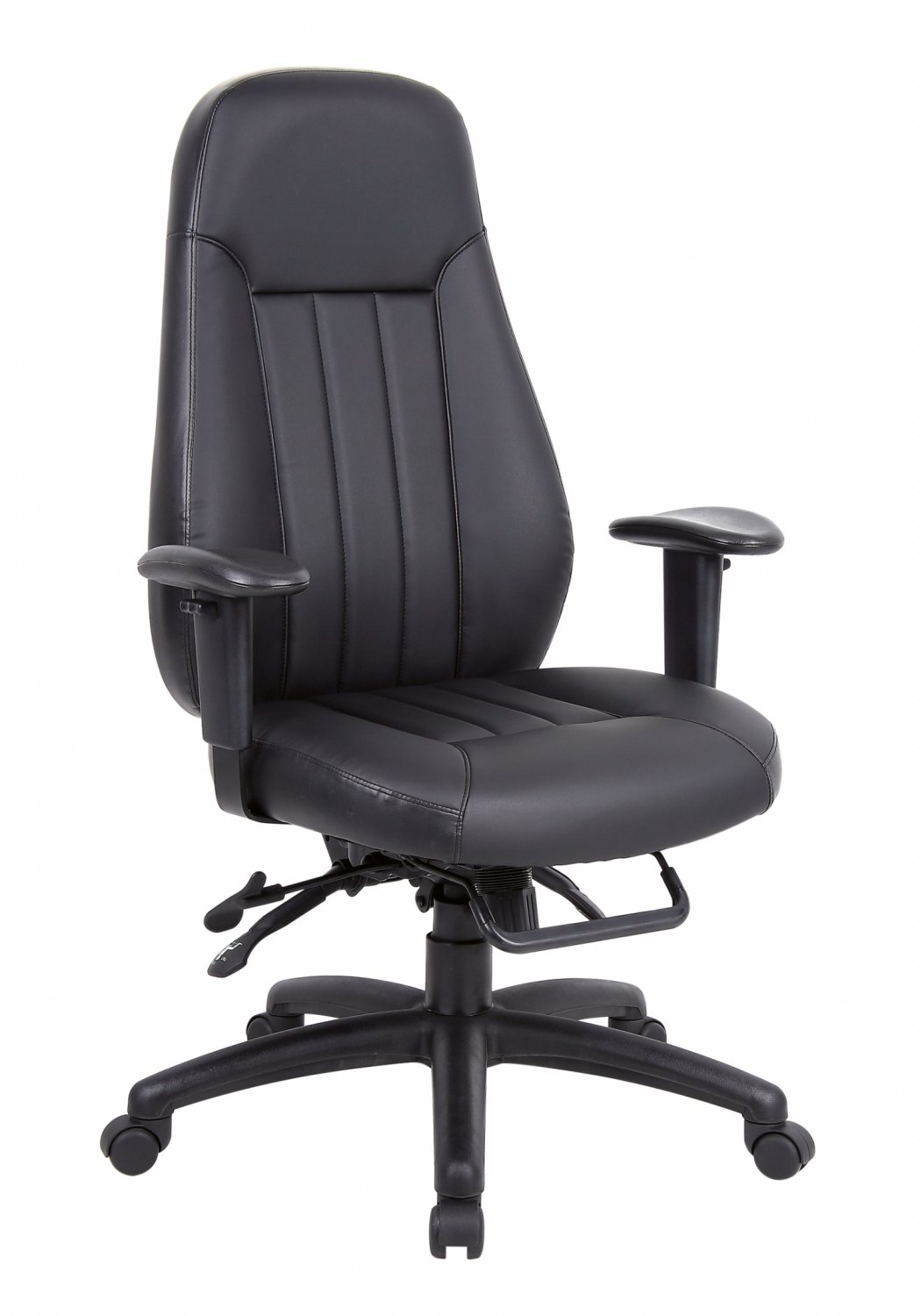 Dual-purpose leather office chair for both style-conscious executives and challenging 24 hour environments.